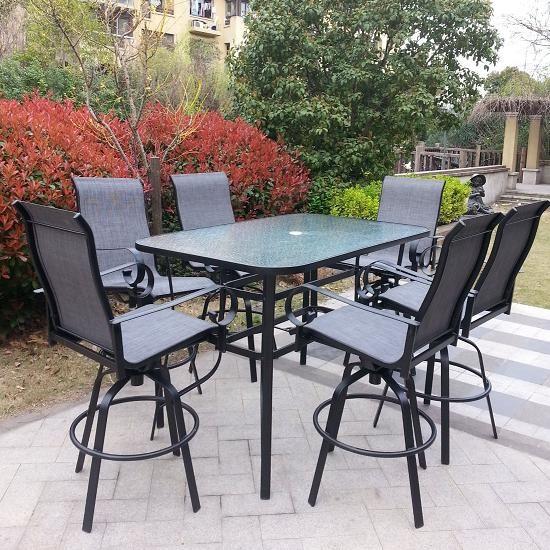 Santa Monica 7pc Steel Patio Bar Set (swivel Sling Chairs) In Black/Grey
