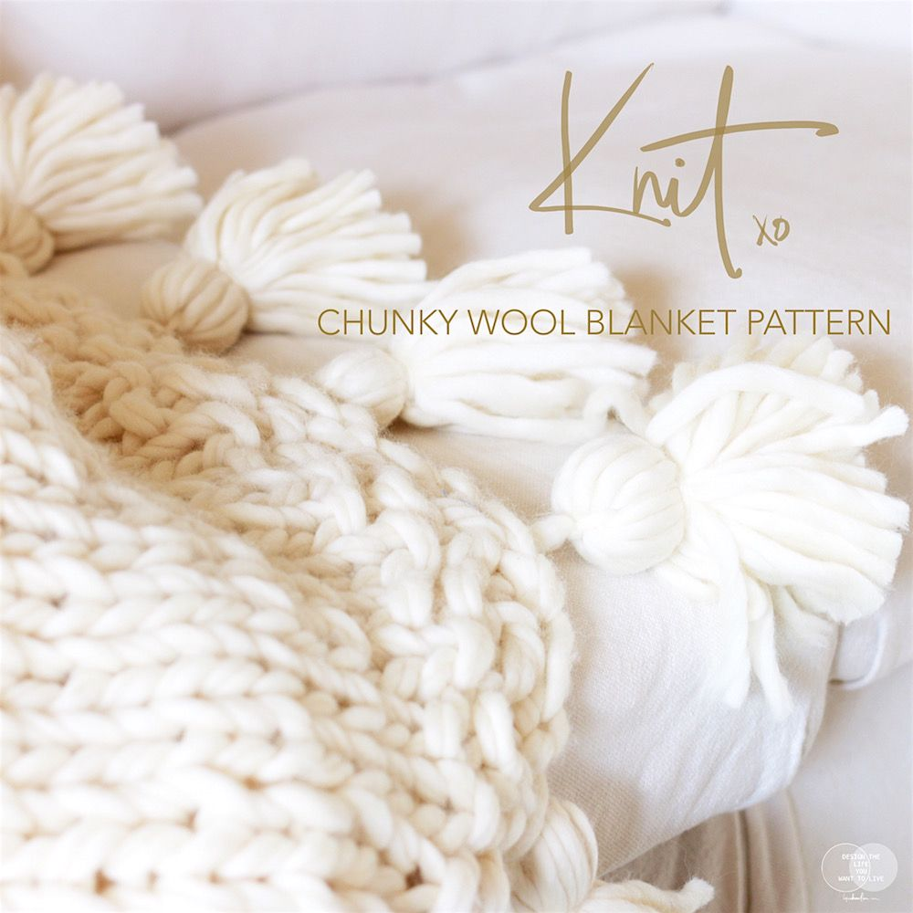 How to knit a Chunky Wool Blanket { Free downloadable pattern