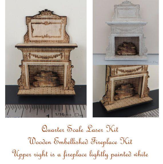 Dollhouse Fireplace Miniatures 1//48 Scale