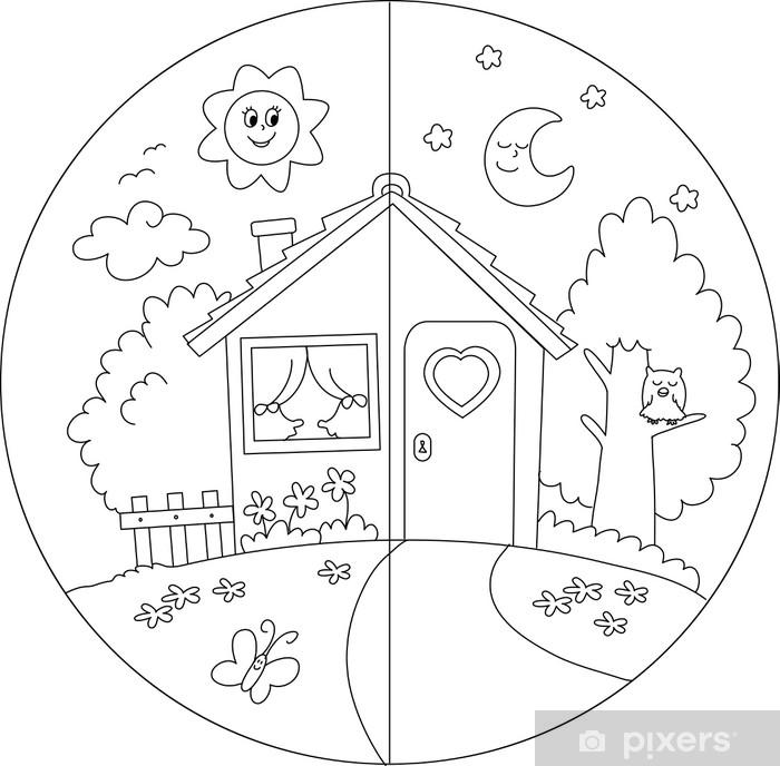 Carta Parati Da Colorare.Carta Da Parati Casa Di Campagna Giorno E Notte Da Colorare Per Bambini Pixers Viviamo Per Il Cambiamento Pagine Di Esercizi Per Scuola Materna Le Idee Della Scuola Immagini Di Scuola