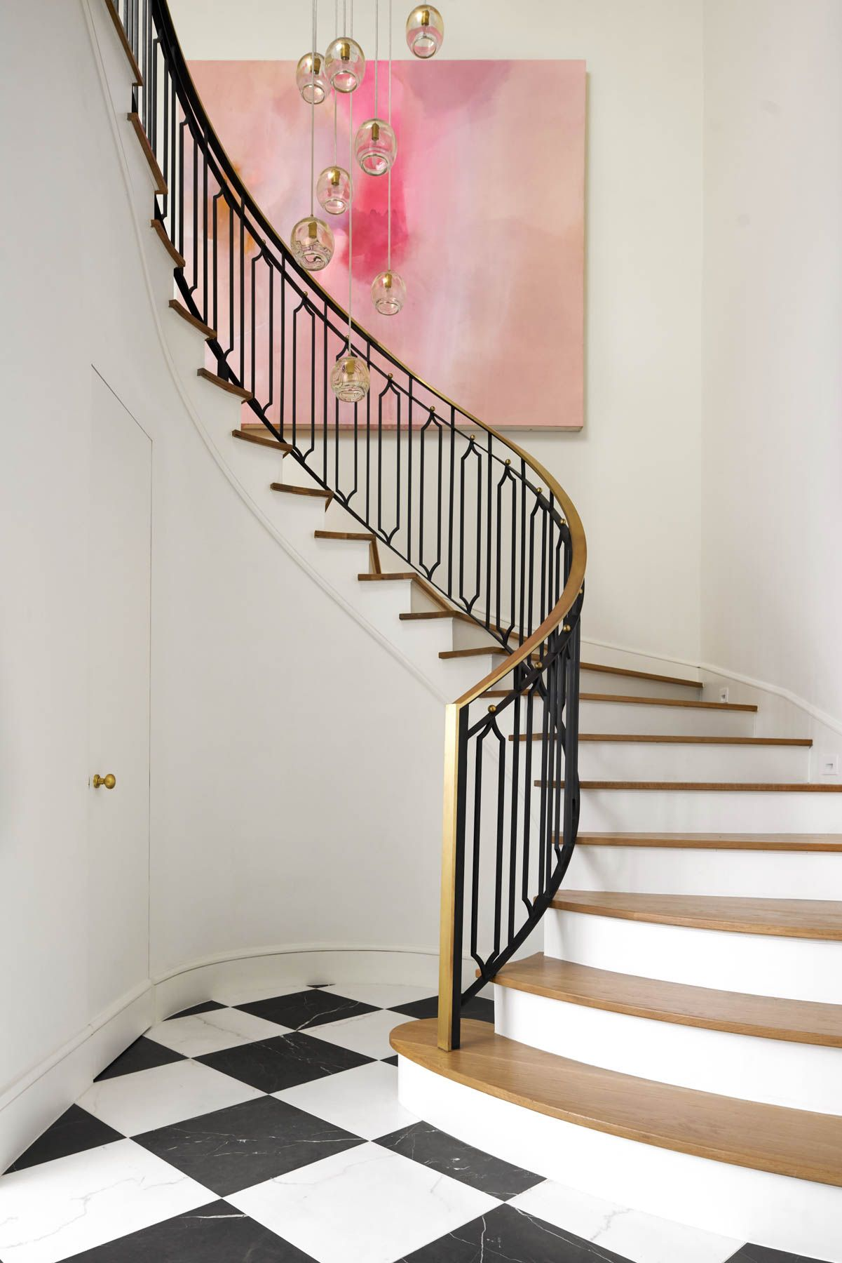 wood and metal spiral entryway staircase jenkins interiors rh pinterest com