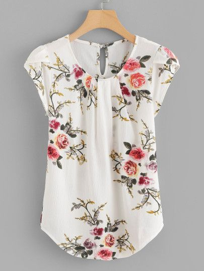 Gathered Neck Button Keyhole Floral Top