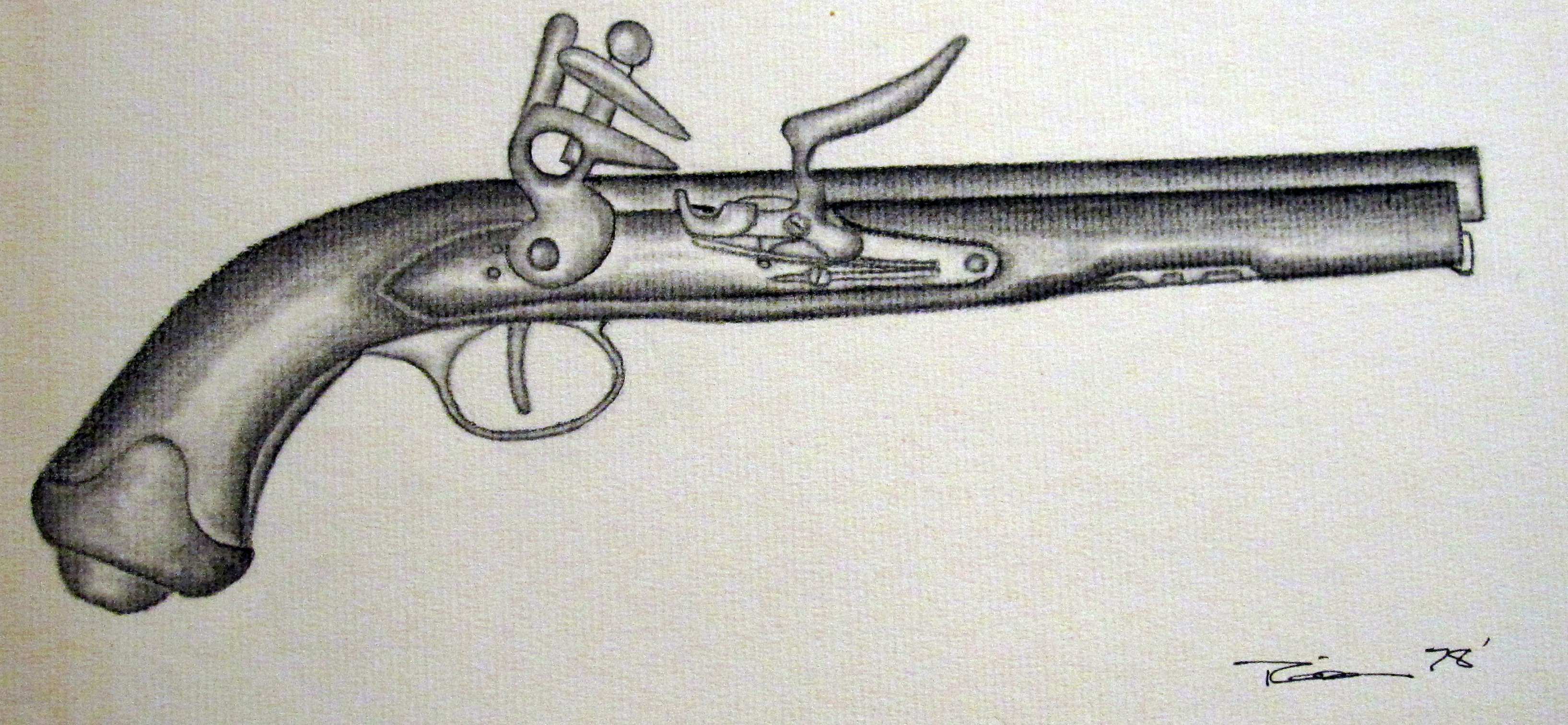 I drew this cap an ball pistol about 30 years ago, I was