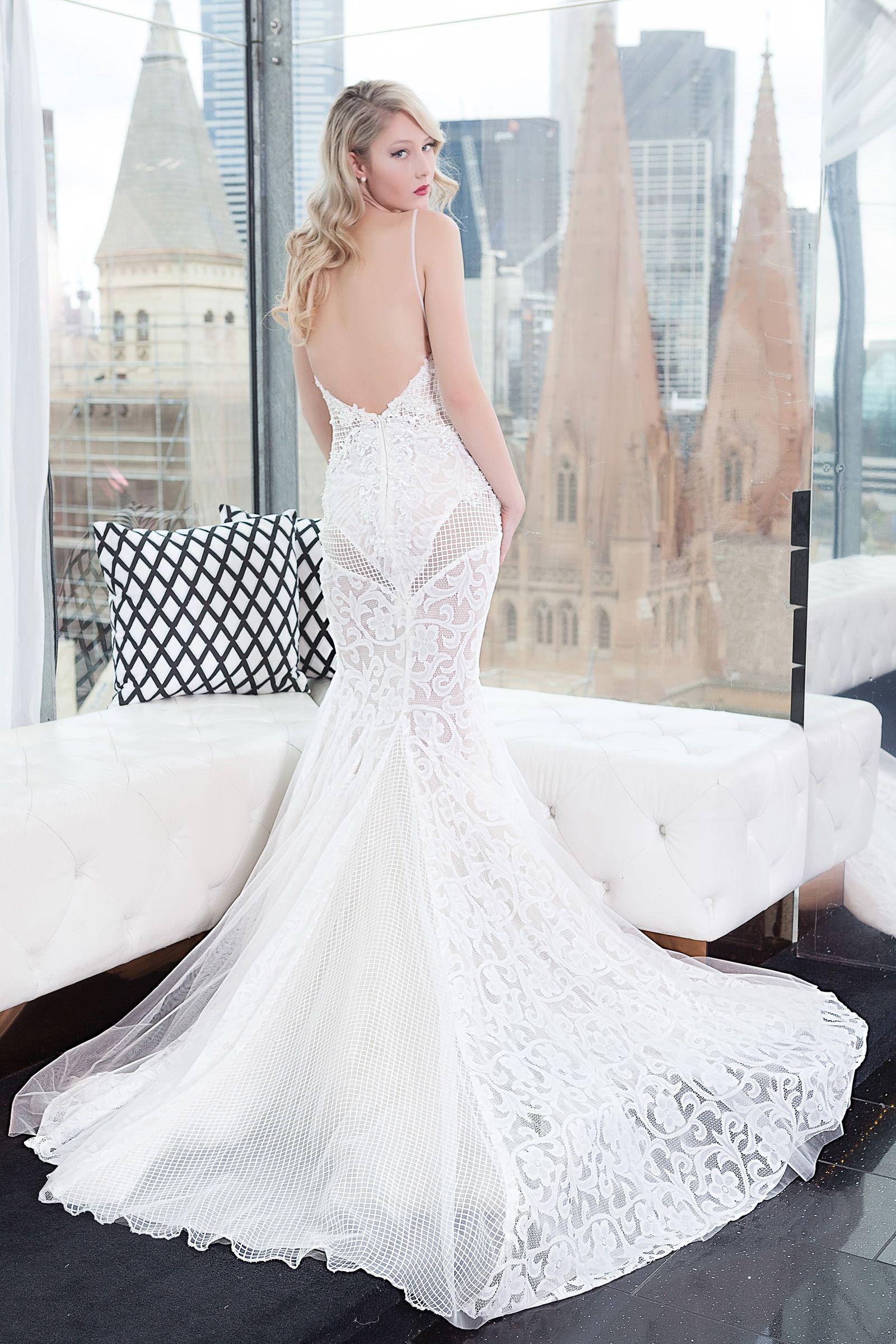Low deep v back modern wedding dress this gown wedding