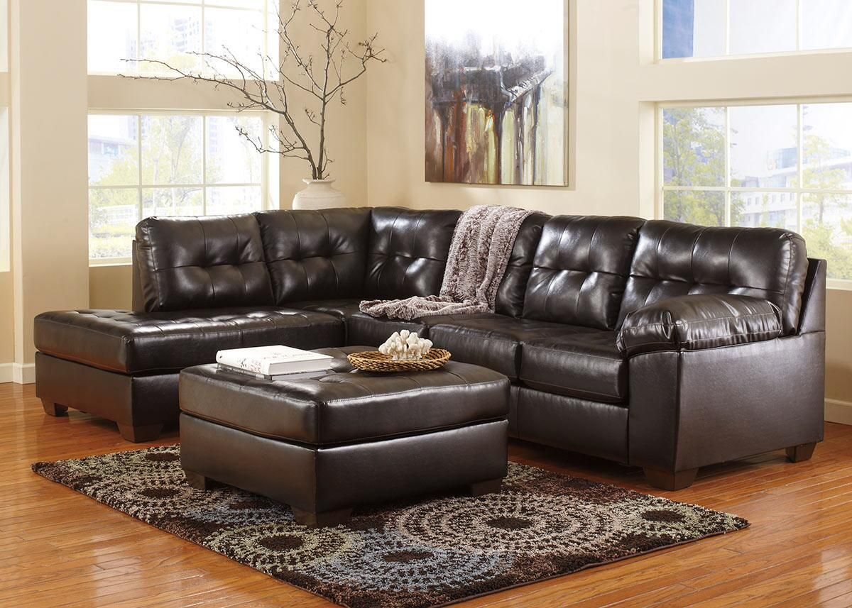 Maxim Chocolate 3 Pc. Sectional (Reverse) With Cocktail Ottoman