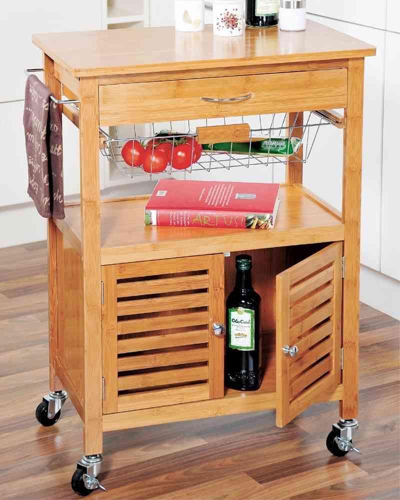 Kesper Küchenwagen Bambus massiv mit Stauraum Art-Nr 25590 rollbar ... | {Küchenwagen kesper 4}
