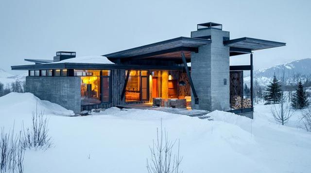 Droomhuis La House : Winters droomhuis in de sneeuw extraordinary houses