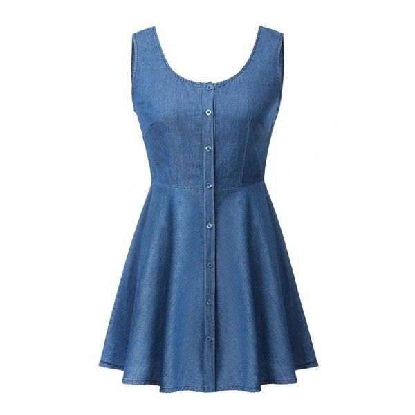 Blue Button Fly A-line Tanks Denim Dress (€15) ❤ liked on Polyvore