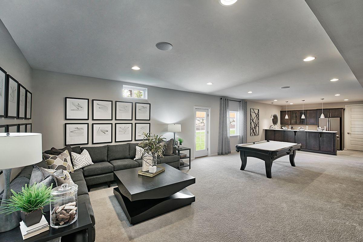 Perfect Place To Unwind With Friends Arlington Model Home Walk Out Basement Stephens City Virgi Basement Living Rooms Basement House Plans Basement Design