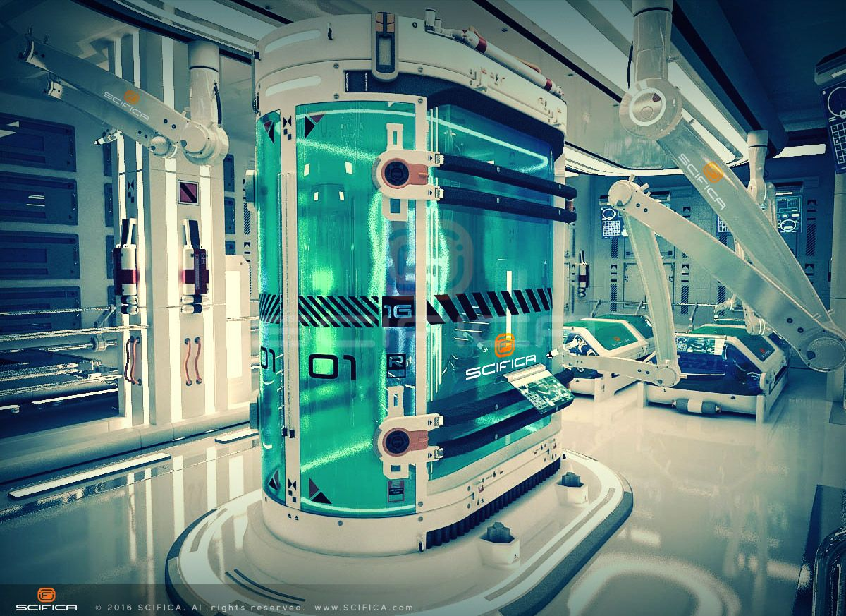 Scifi cryo lab cryoterapy laboratory chamber interior for Sci fi decor