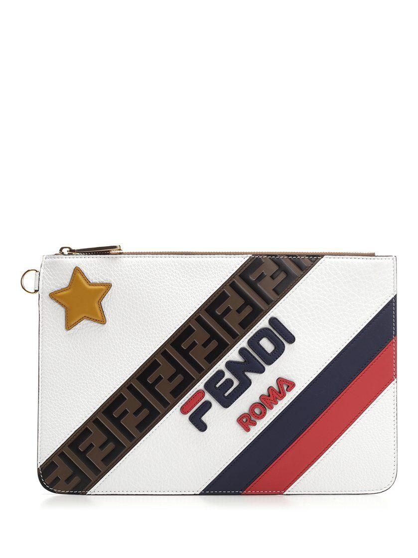 e6f51a2f4b86 FENDI FENDI FILA CLUTCH BAG.  fendi  bags  polyester  leather  clutch   lining  hand bags  cotton