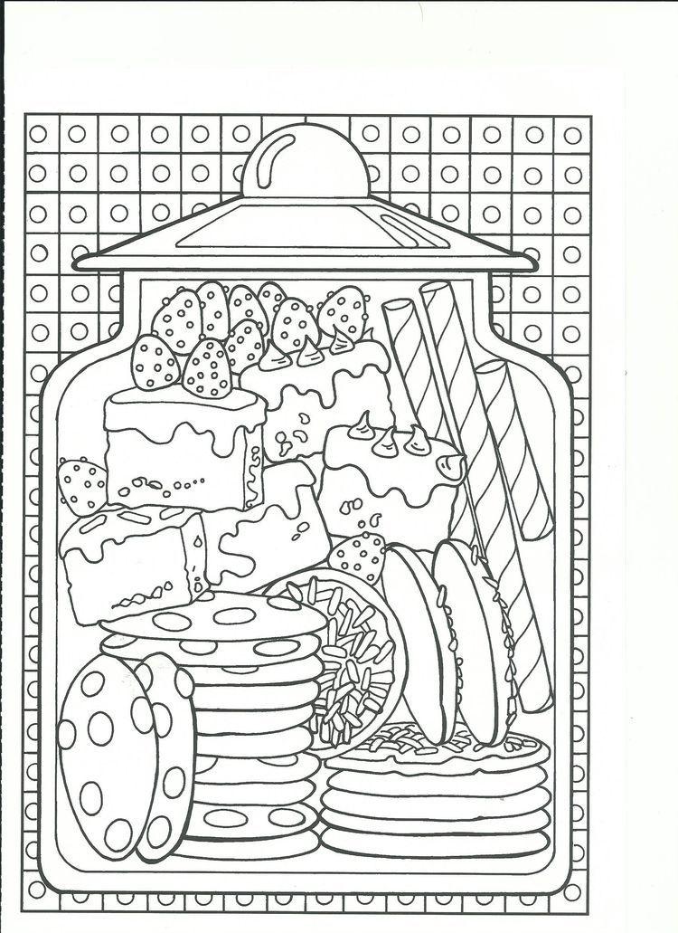 Cookies and sweet treats cookie jar coloring page for Sweet treats coloring pages