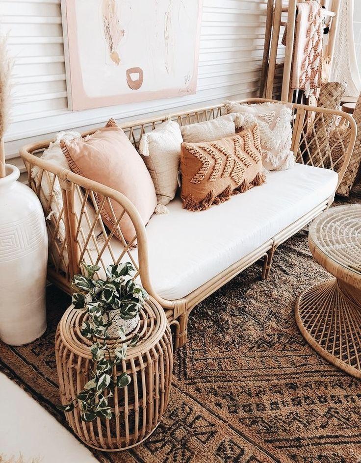 Photo of boho elegant stue, kurv sitteplasser