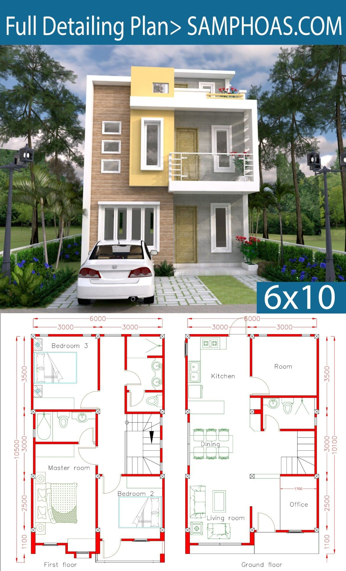 Sketchup Home Design Plan 6x10m With 4 Rooms Samphoas Plansearch Architectural House Plans Model House Plan House Layout Plans