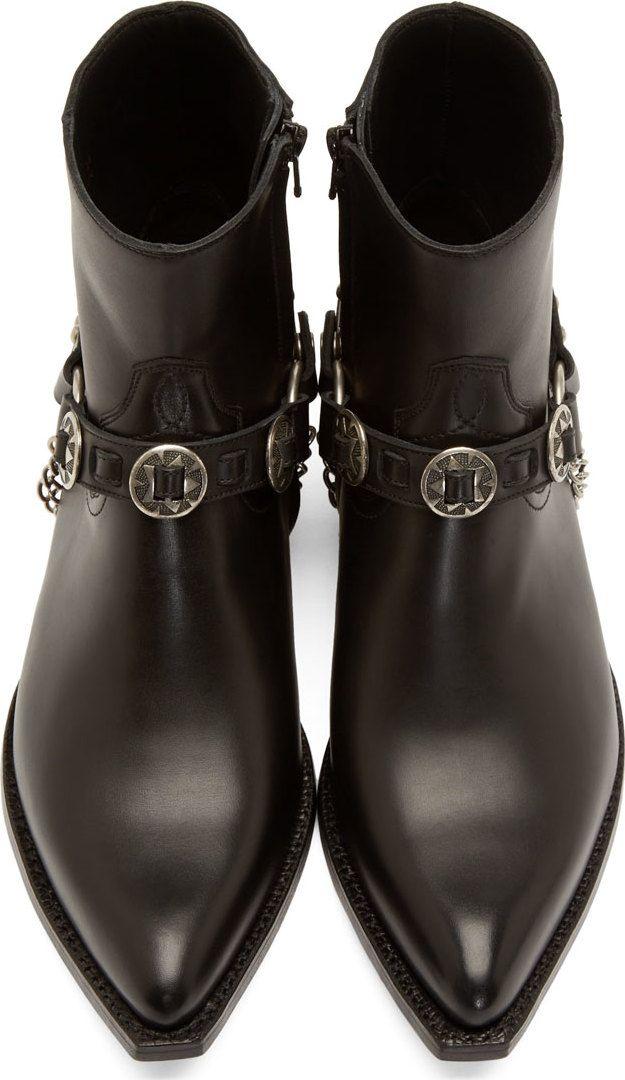 Saint Laurent Black Harness Western Santiag Boots in 2020