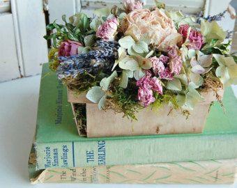 Arreglo Floral Con Lavanda Rosas Hortensias De Secado Vintage