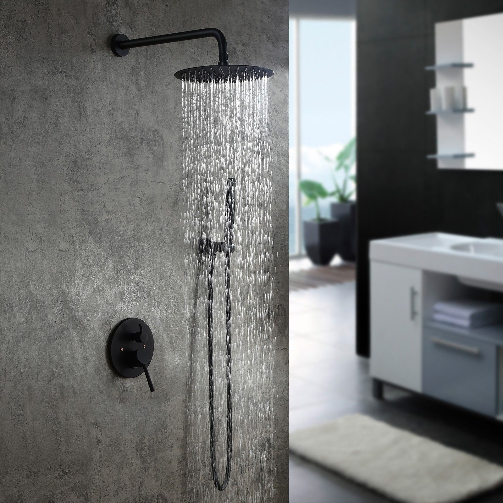Modern Matte Black Wall Mounted Rain Shower System With Round