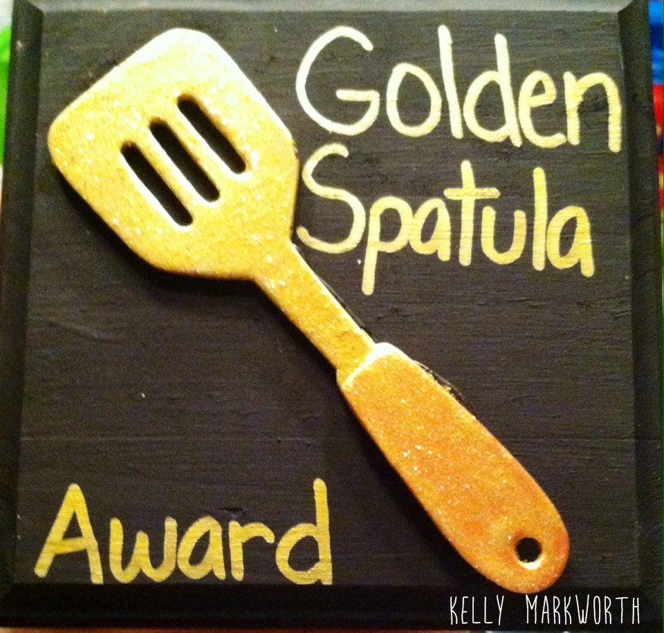 handmade handpainted golden spatula award spongebob lunch room