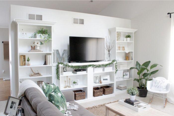 Our Ikea Hack Diy Built In Bookcase Saffron Avenue Built In Bookcase Bookshelves Built In Diy Built In Shelves