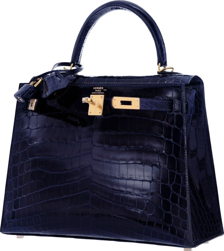 f9694f452e Hermes 25cm Shiny Blue Marine Nilo Crocodile Sellier Kelly Bag with Gold  hardware