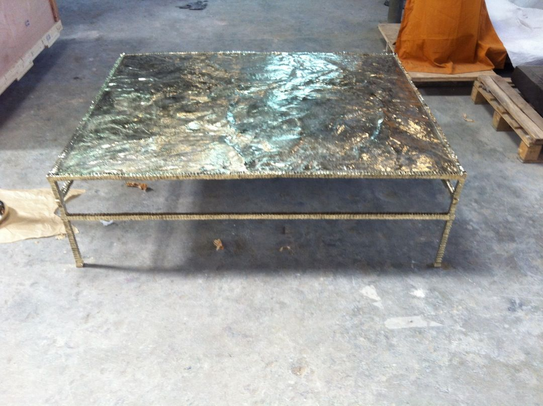 """HUGE 8' X 8"""" Forged Bronze Table.  You like? Please SHARE...."""