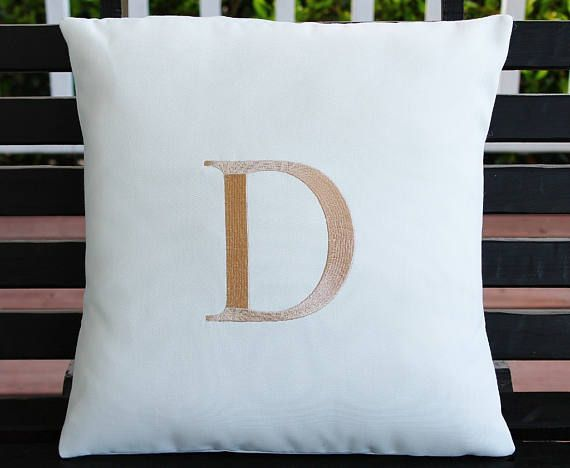 Monogrammed Outdoor Pillow Cover In Natural White Tan