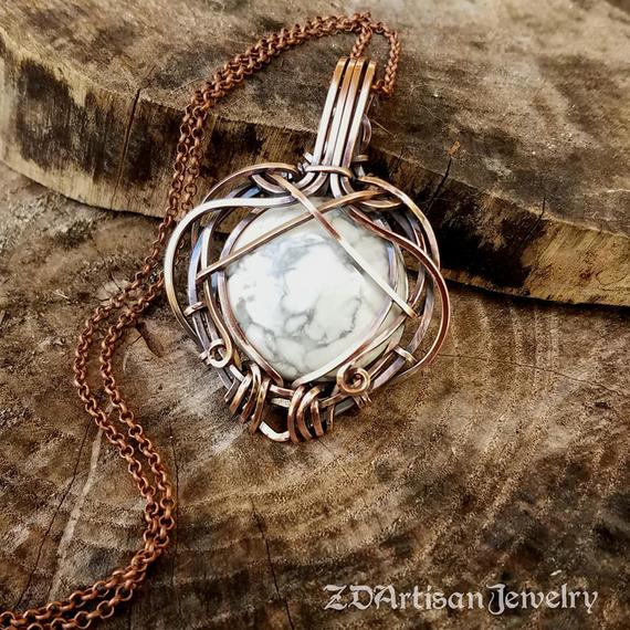 white howlite silver necklace wired wrapped howlite necklace handmade White howlite wired wrapped crystal necklace