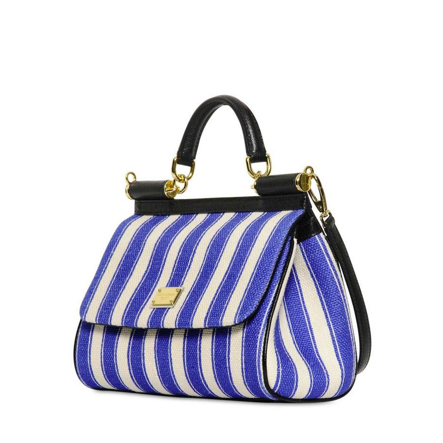 48ac7a1301 Miss Sicily Blue Striped Canvas Bag - Dolce   Gabbana (Yes You Can(vas)!  Tote   shoulder Top handle Satchel Canvas Blue White Flap bags Calf skin)