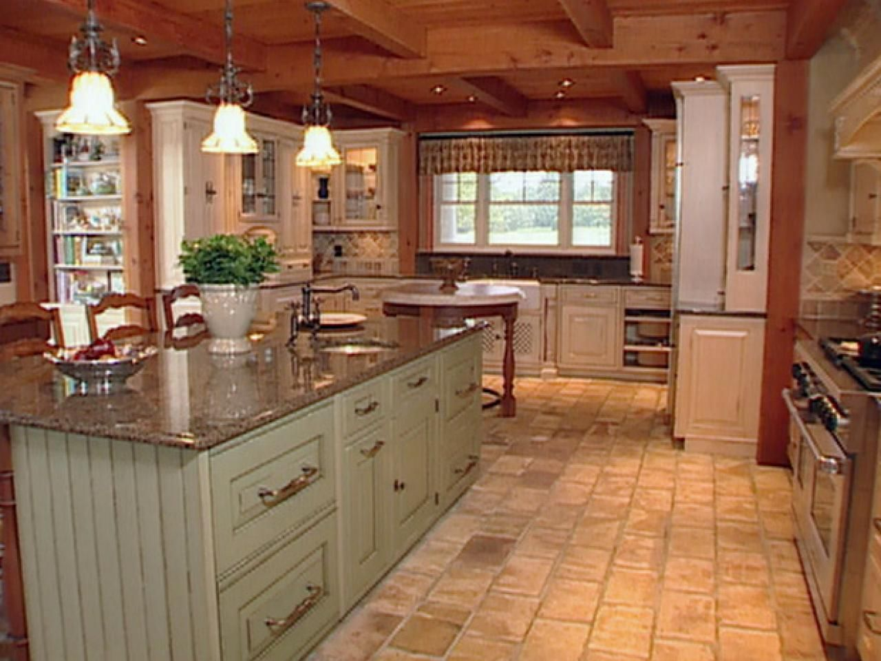 Natural materials create farmhouse kitchen design for Hgtv kitchen designs photos