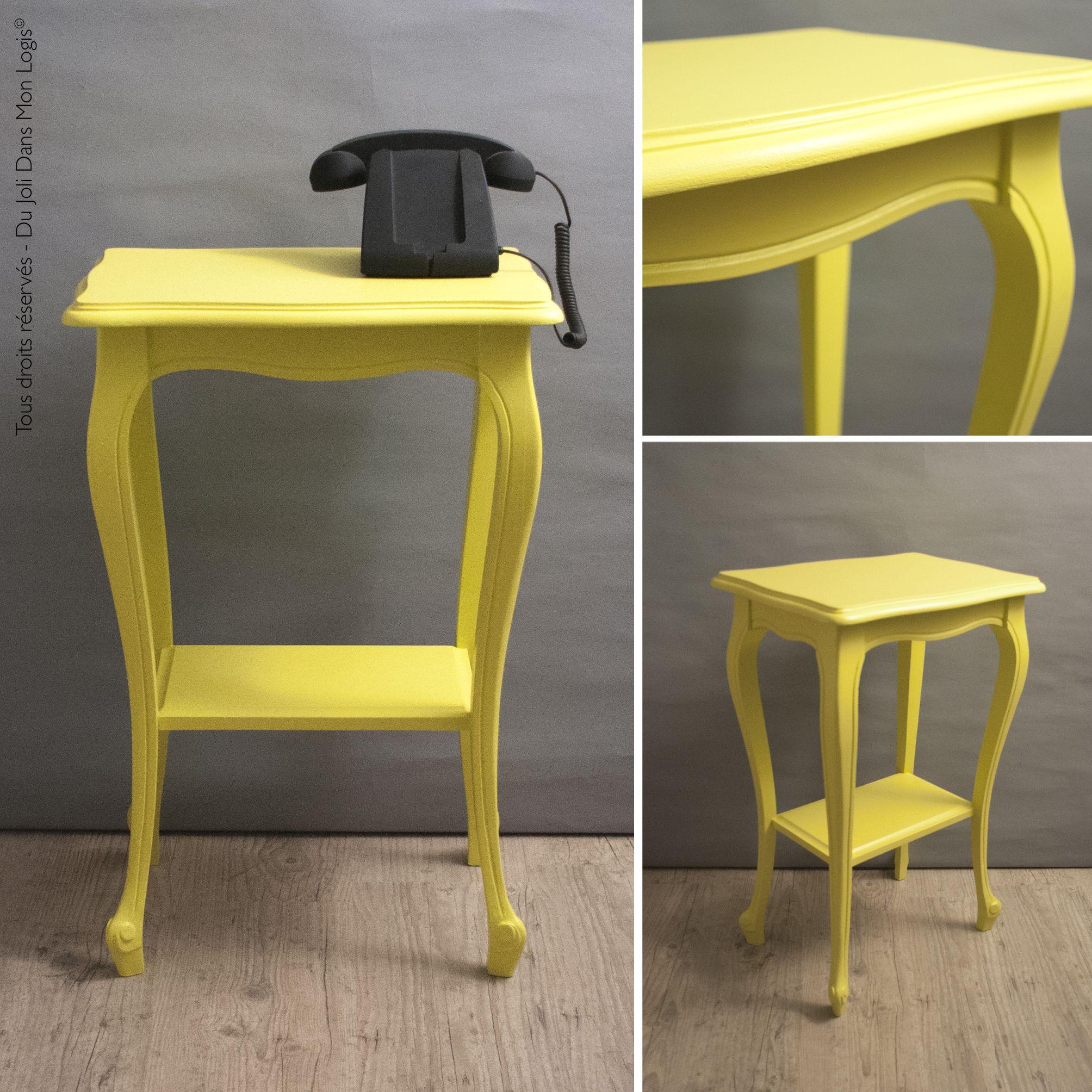 mireille un joli rayon de soleil gu ridon enti rement relook bois peint couleur jaune. Black Bedroom Furniture Sets. Home Design Ideas