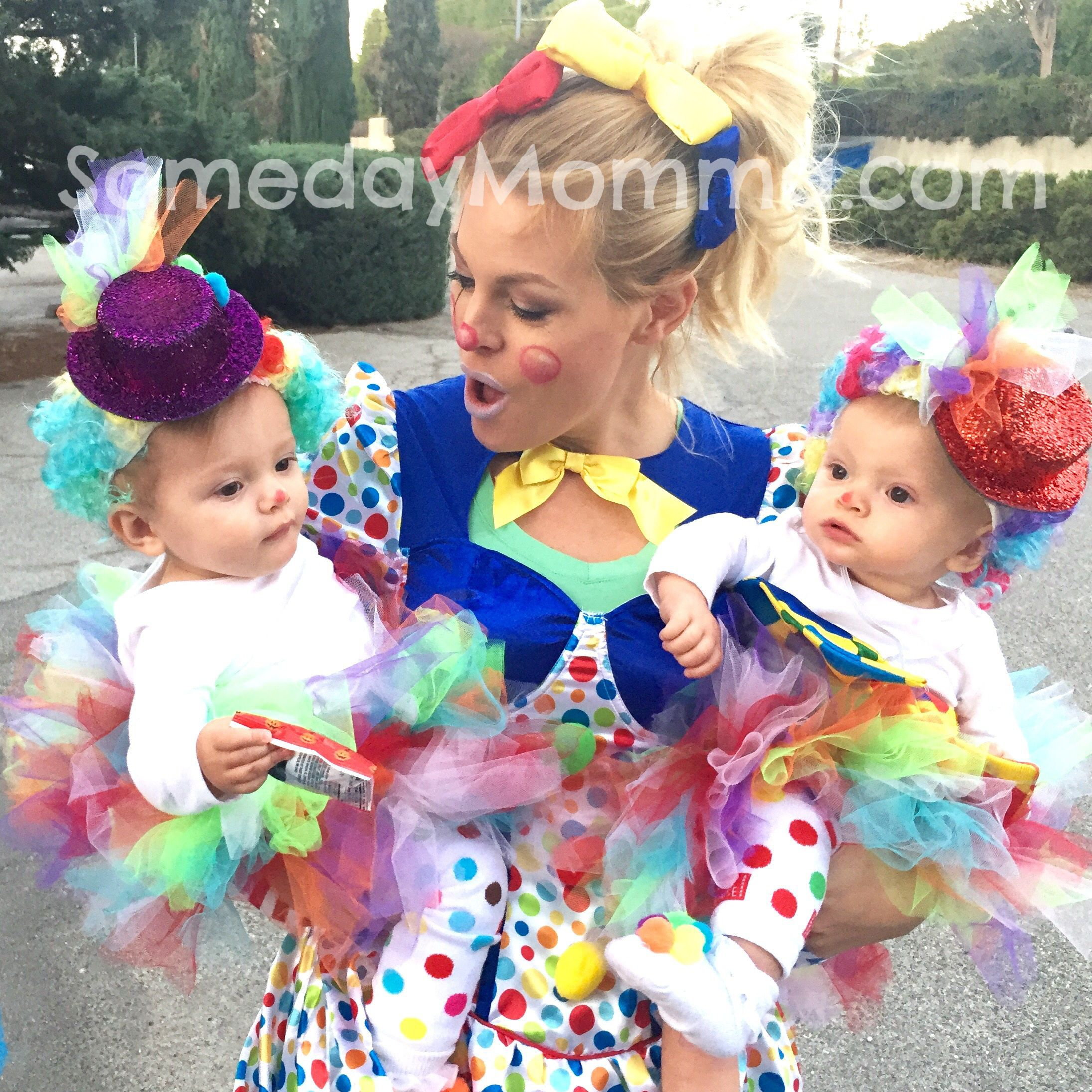 cute clown family baby girls halloween costume. diy twins babys