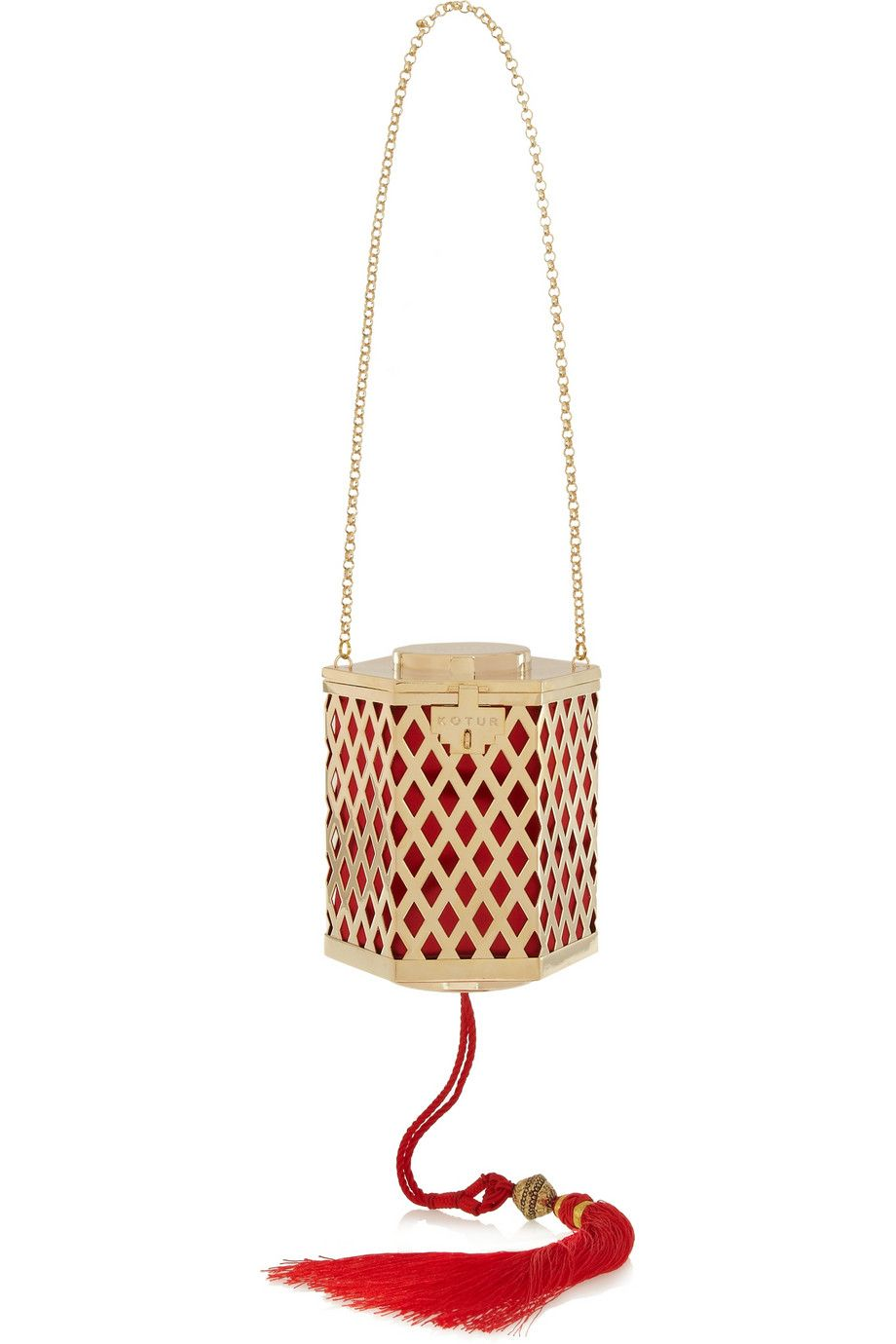 Kotur - Lantern tasseled gold-plated shoulder bag