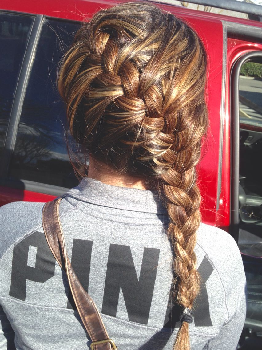 French Braid On Brown Hair With Blonde And Carmel