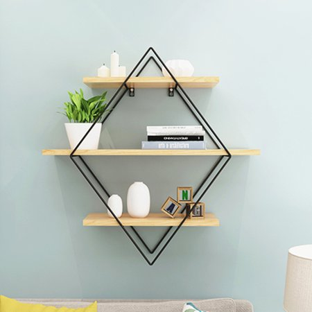 Metal Wood Round Rhombus Design Grid Wall Shelf Industrial Vintage Hanging Rack Bookcase Storage Holder Floating Display Shelves Home Bedroom Decor Walmart Wood Wall Shelf Metal Wall Shelves Bedroom Decor