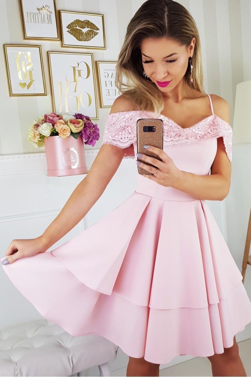 5c5ae407 Oszałamiająca Sukienka z Odkrytymi Ramionami Różowa BI2142-12 ...
