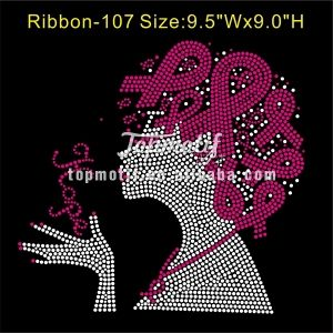 Custom Afro Lady With Hope Breast Cancer Ribbon Rhinestone Transfer