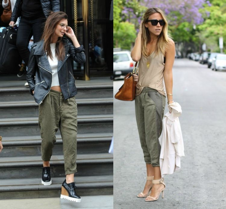 coole jogginghose damen khaki seide leinen satin sweatpants mode fashion mode pinterest. Black Bedroom Furniture Sets. Home Design Ideas