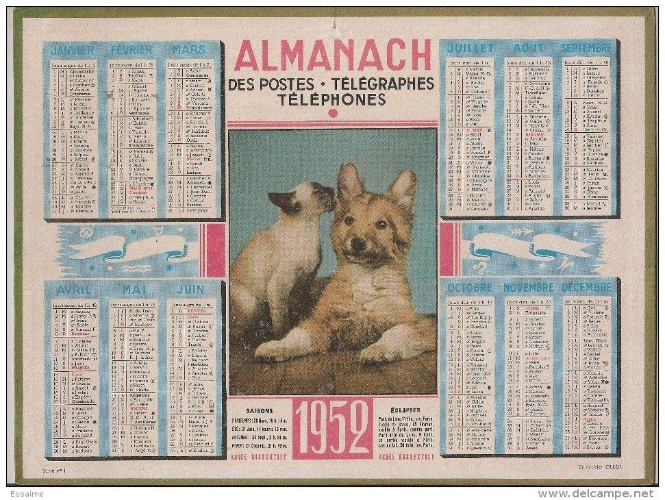 Calendrier Poste.Almanach Des Ptt Calendrier Poste 1952 Chien Et Chat