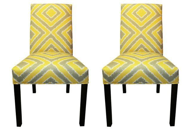Citrus Kayla Side Chairs Pair Side Chairs Yellow Accent Chairs