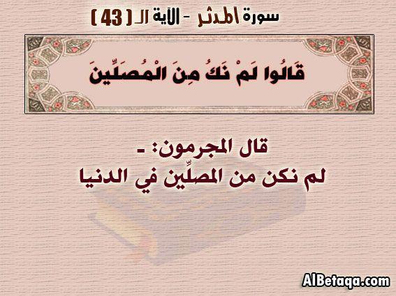 الآيه 43 سورة المدثر التفسير المصور Calligraphy Social Security Card Arabic Calligraphy