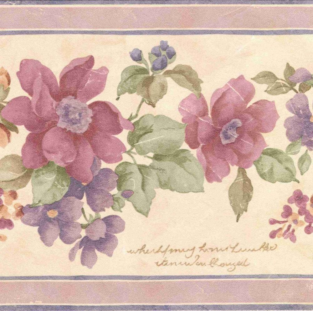 FLORAL WALLPAPER BORDER WITH WRITING B0635