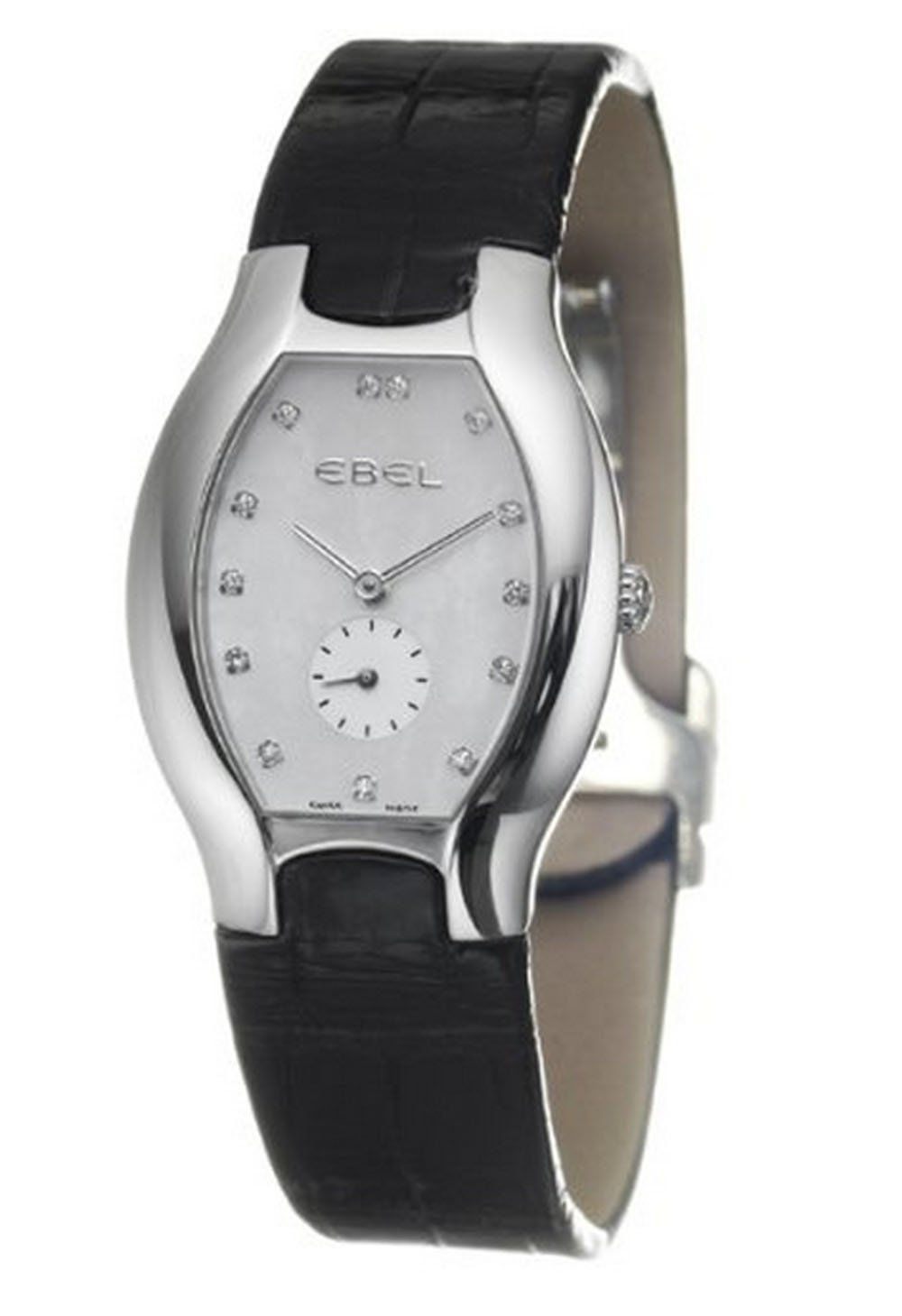 Ebel Beluga Tonneau Women's Quartz Watch 9014G31-9935206. Stainless Steel Case with 13 White Diamonds. CLASP: Fold-Over Clasp. Made in Switzerland. CROWN: Pull and Push Crown Recessed. CHRONOGRAPH: SECONDS REGISTER.