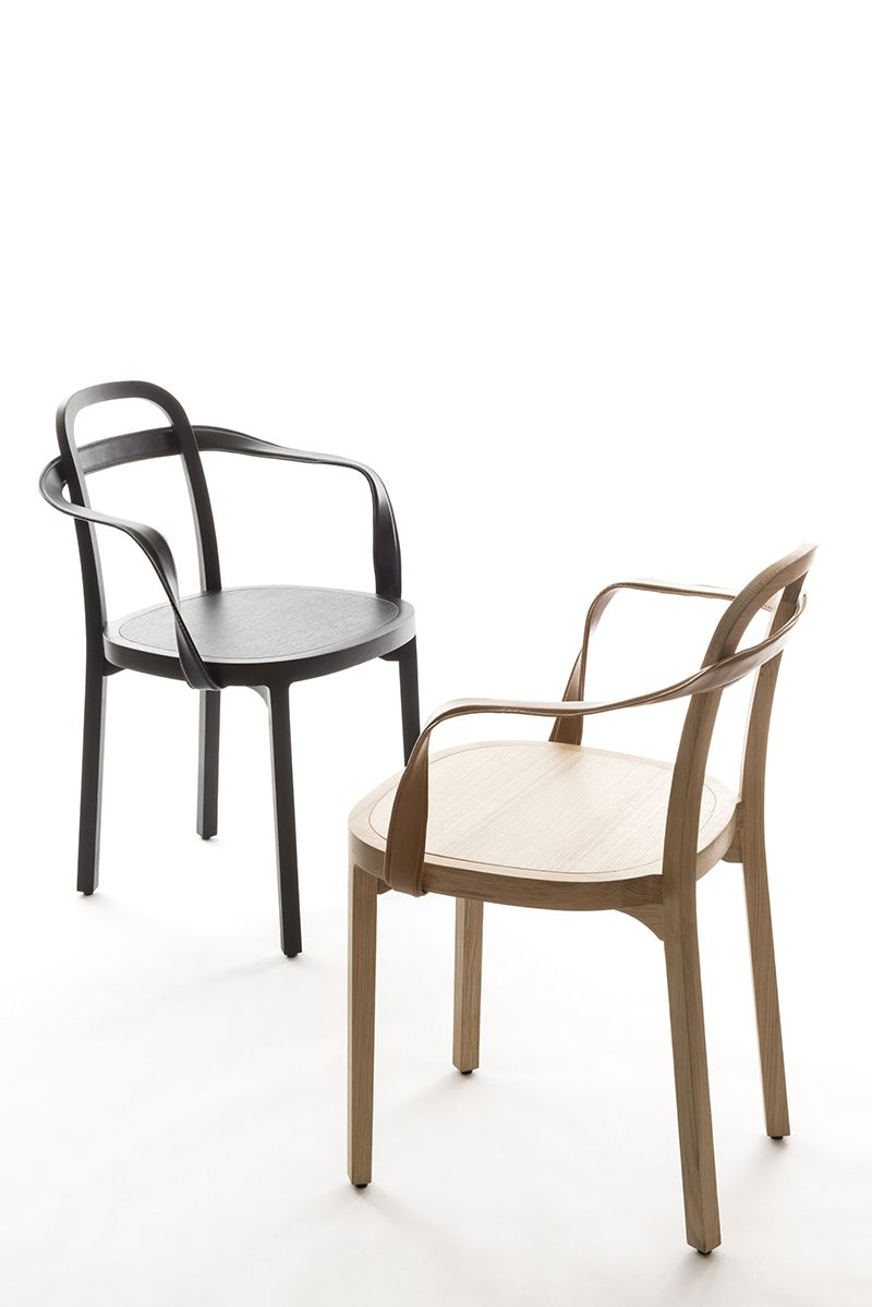 Siro chair with armrest oak and leather wooden chair for Proposito contemporaneo del comedor