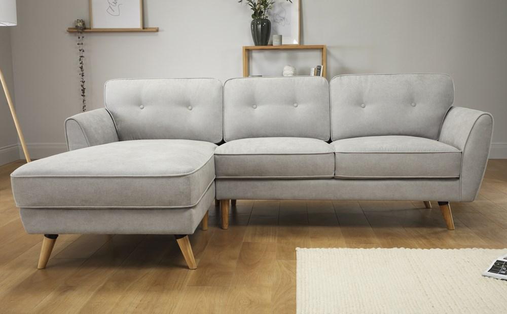 Harlow Dove Grey Plush Fabric L Shape Corner Sofa Lhf Avec Images