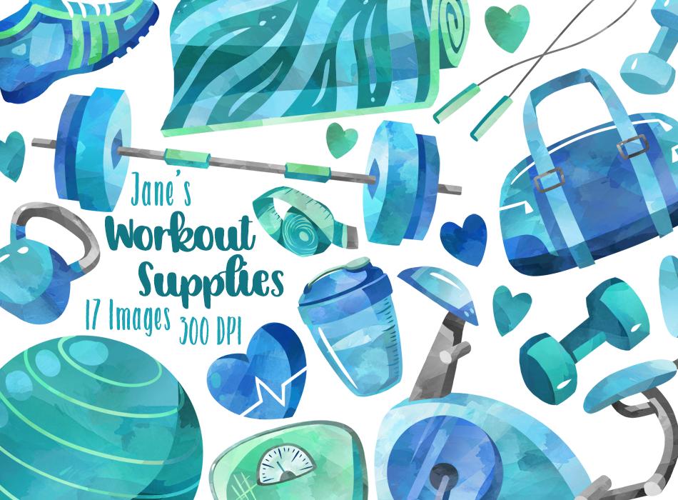 Workout Supplies Graphics Set - Blue