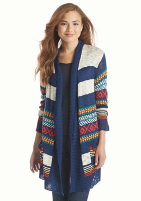 Red Camel  Tribal Stripe Cardigan