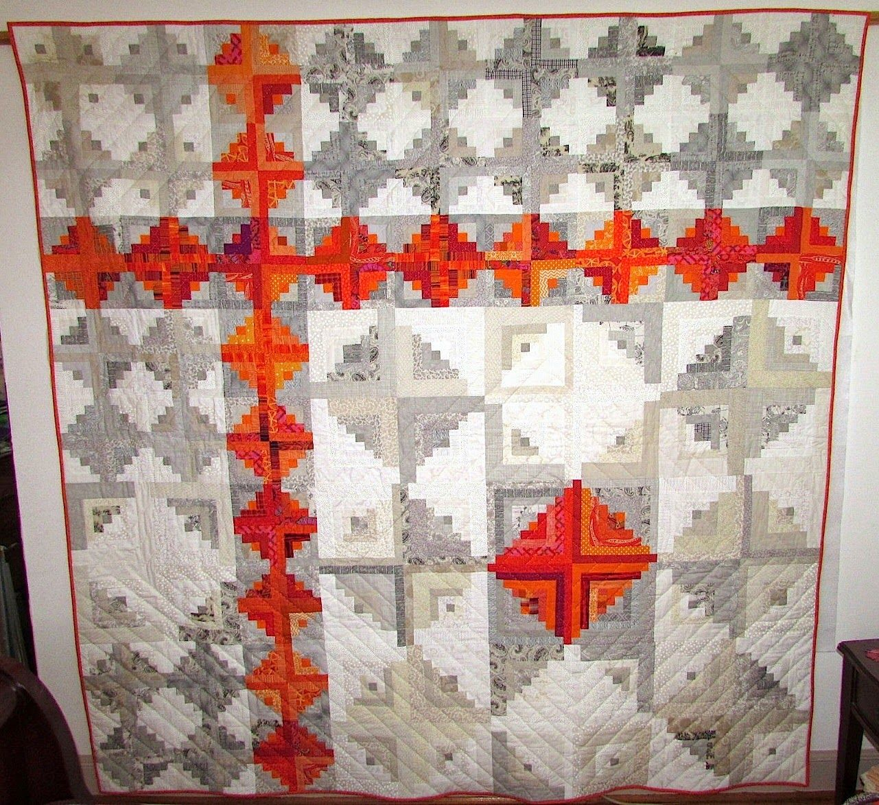 Orange explains it all modern log cabin quilt finish 2014 for How to stain log cabin