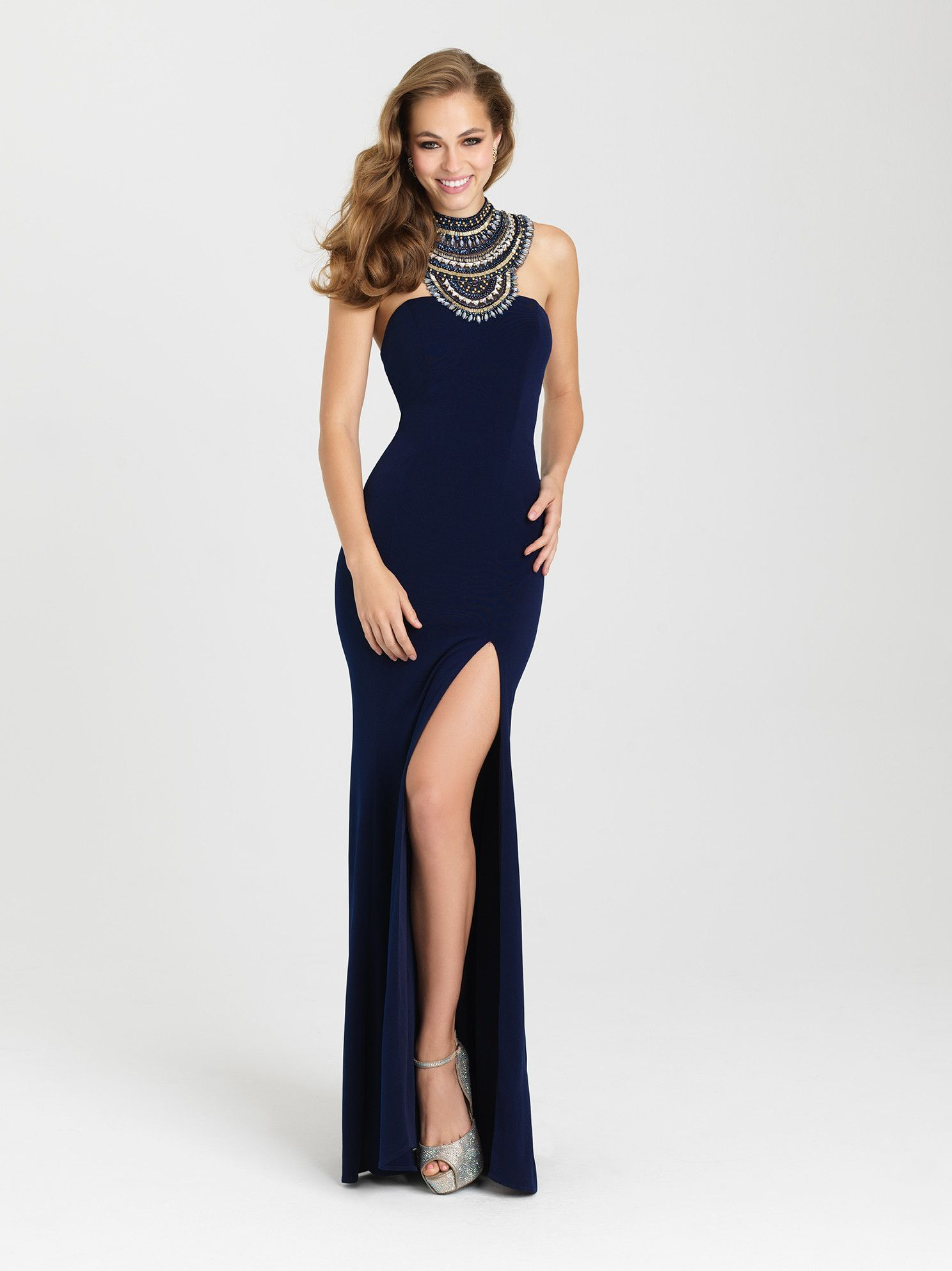 Madison James 16-436 Beaded Collar Halter Prom Dress or Evening ...