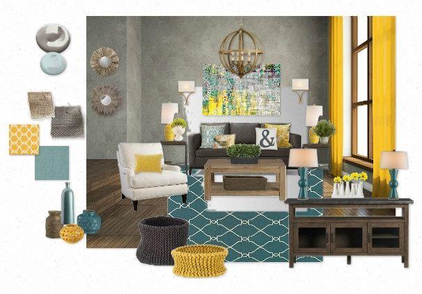 Teal and yellow living room @Abby Christine Christine ...