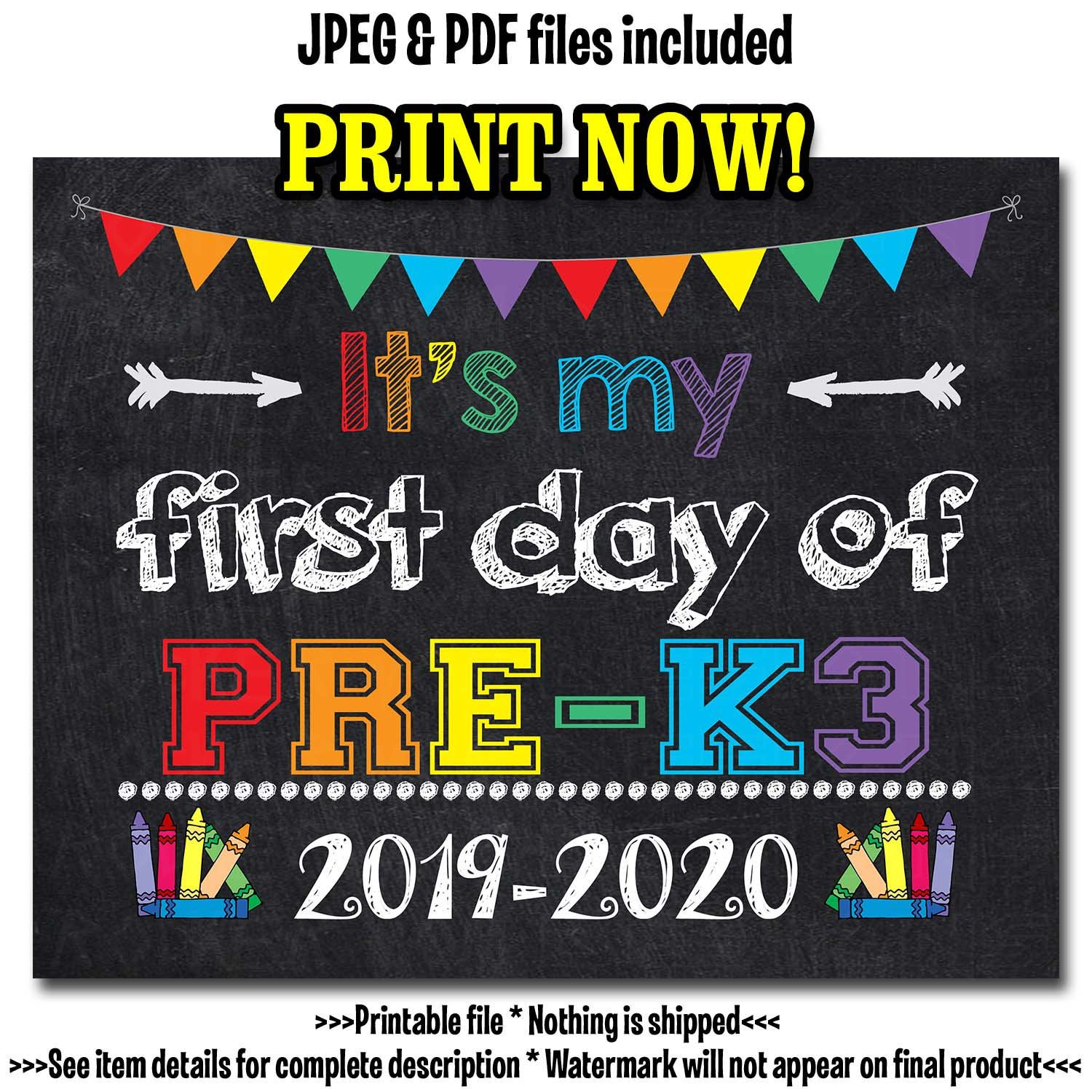 First Day of PRE-K3 Sign, First Day of School Sign, Chalkboard School Sign, First Day of School Printable, Pre-K3 Photo Prop, Preschool Sign #firstdayofschoolsign